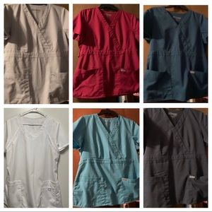 Lot of 6 Grey's Anatomy Scrub Tops Size Large